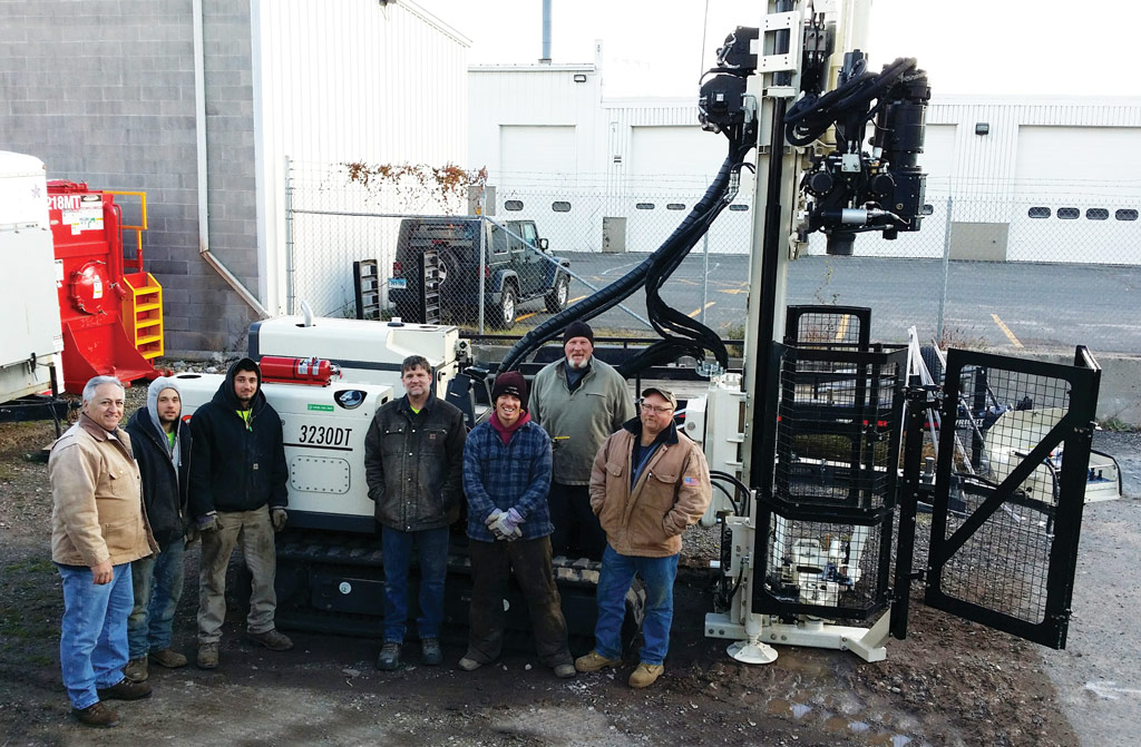 Delivery Day.  Victor Rotonda (left), Geoprobe® Mid-Atlantic Sales, led the 3230DT orientation and training day for the AEAC field team: (l to r) Troy Langer, Envr. Tech.; Joey Sbano, Envr. Tech.; Dirk Barry, General Manager; Chris McKinney, Master Driller; Pete Classen, Operations Manager; and Bob Beeman, Sr. Systems Tech.