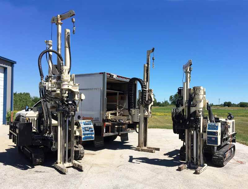 The Enviro-Dynamics Geoprobe® fleet: 7822DT, 6600 with PC111 carrier, and 6712DT with low clearance option.