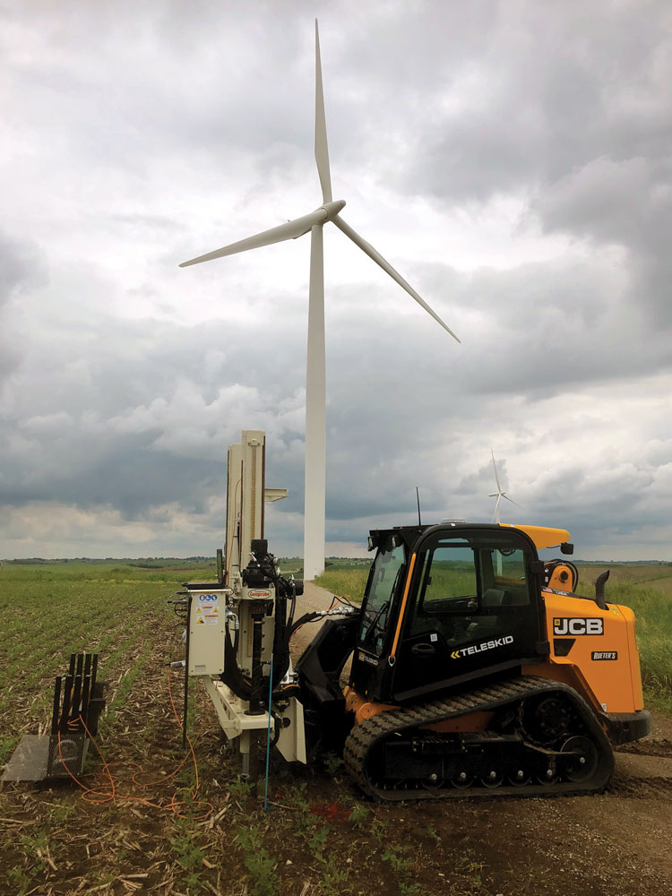 Geoprobe® 20CPT skid steer has opened the windfarm market to Olsson, gathering data on soil stability along crane paths.