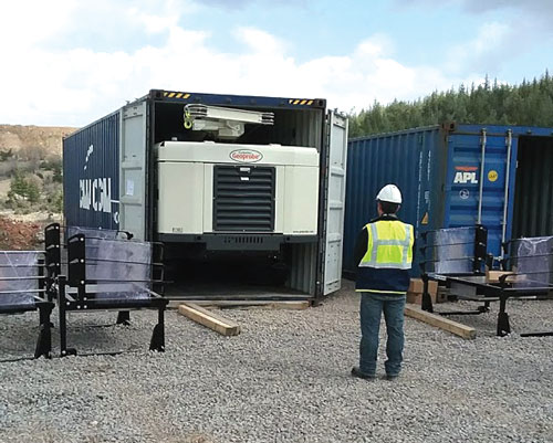 8150LS sonic drilling rig fits inside 40-foot shipping container for easy international transportation