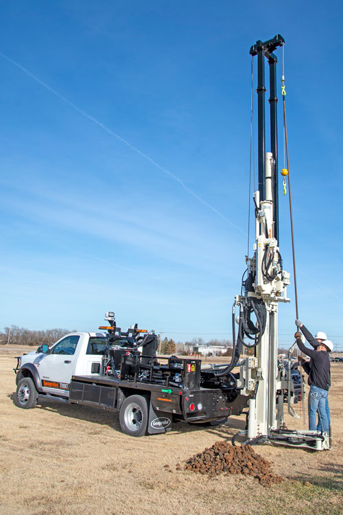 Centerline head side shift on 3100GT drilling truck simplifies geotechnical sampling while providing capabilities to expand into environmental drilling.