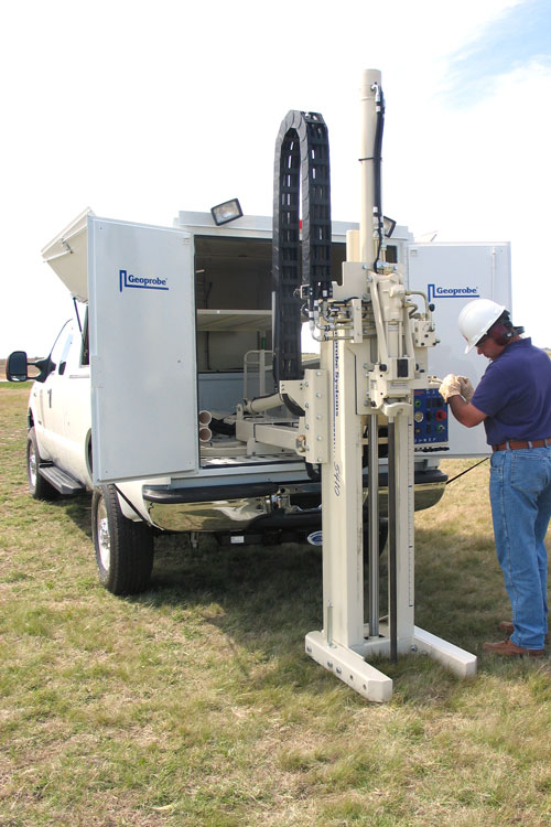 Optional enclosure allows stocking field supplies while lateral movement permits offsetting probe on the 5410 without moving the truck.