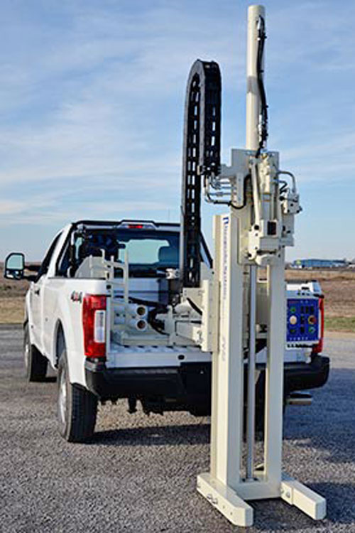 Stabilize probing operations with heavy-duty steel frame and dual extend tubes on 5410 truck mounted drill rig