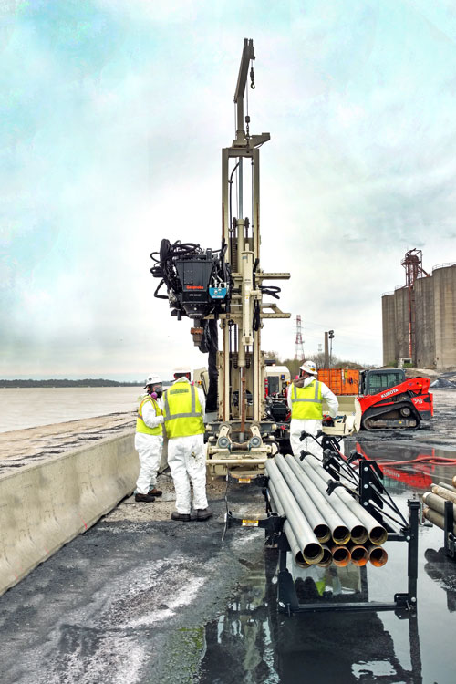 Despite heaving sands and surface/subsurface obstructions 8150LS sonic drilling rig successfully collects both environmental and geotechnical samples from 80 feet at a Kentucky contaminated jobsite with fewer cuttings and investigation derived waste requiring disposal.